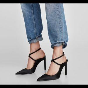 Zara Satin Pointed Strappy Ankle Heels!!